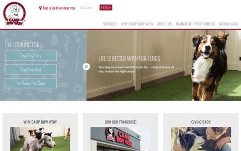 Screenshot of Home Page campbowwow.com - Dog Boarding, Dog Daycare, Training, Pet Sitting | Camp Bow Wow - captured Jan. 25, 2016