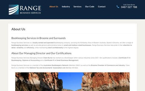 Screenshot of About Page rangeservices.com.au - About Range Business Services - Bookkeeping in Broome - captured Oct. 27, 2014