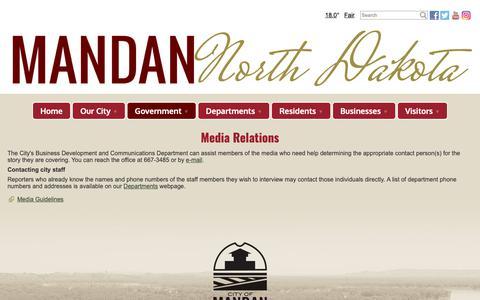 Screenshot of Press Page cityofmandan.com - Media Relations - City of Mandan, North Dakota - captured Dec. 8, 2018