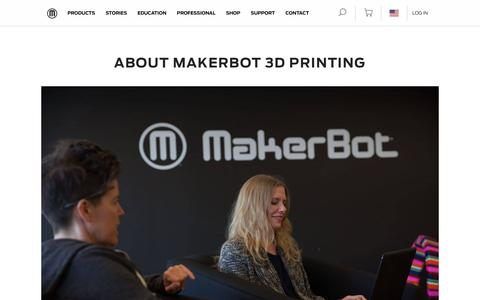 Screenshot of About Page makerbot.com - About MakerBot - Desktop 3D Printers - Desktop 3D Printing - captured May 7, 2019