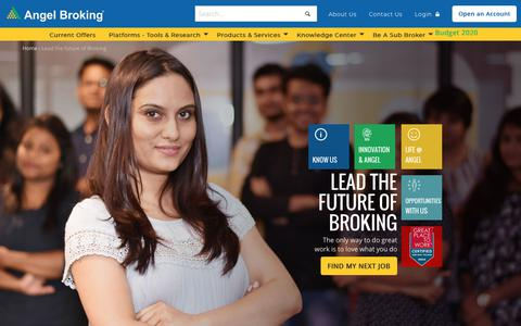Screenshot of Jobs Page angelbroking.com - Lead the future of Broking | Angel Broking - captured Jan. 31, 2020