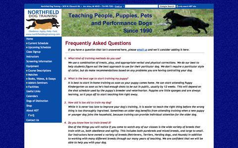 Screenshot of FAQ Page northfielddogtraining.com - Northfied Dog Training - captured Sept. 30, 2014