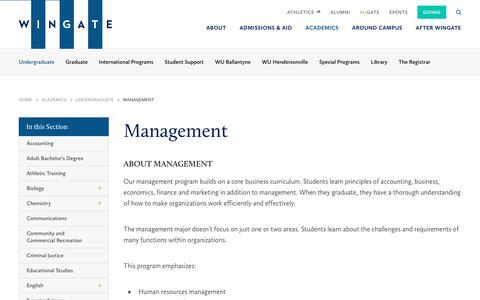 Screenshot of Team Page wingate.edu - Management - Wingate University - captured June 5, 2018