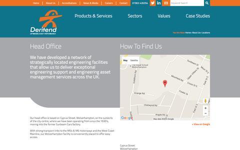 Screenshot of Locations Page deritend.co.uk - Engineering asset management, engineering asset management services – Deritend. - captured Feb. 9, 2016
