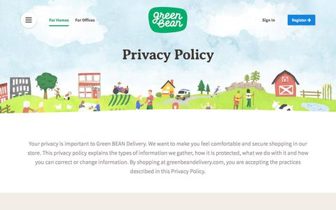 Screenshot of Privacy Page greenbeandelivery.com - Green Bean Delivery - Organic + Natural Groceries Delivered - captured Jan. 29, 2018