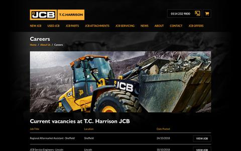 Screenshot of Jobs Page tchjcb.com - JCB T.C. Harrison | Careers - captured Nov. 16, 2018