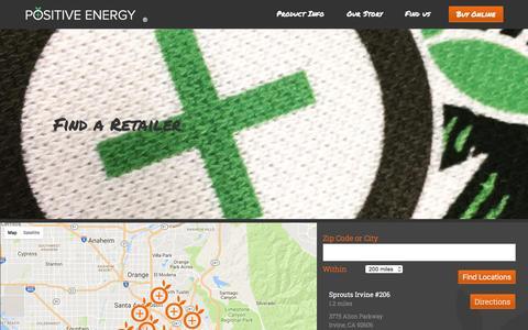 Screenshot of Locations Page drinkpositiveenergy.com - Positive Energy - Locations - captured Nov. 9, 2016
