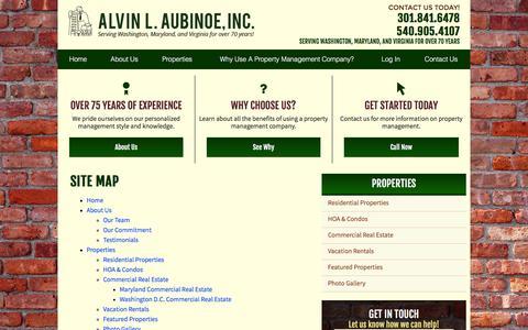 Screenshot of Site Map Page ala-inc.com - Site Map | Maryland Property Management - captured Feb. 5, 2016