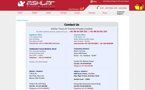 Screenshot of Contact Page ashlartours.com - Contact Us - AshlarTours.com - captured Sept. 22, 2014