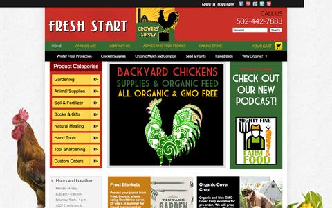 Screenshot of Home Page freshstartgrowers.com - Fresh Start Growers' Supply - captured Feb. 10, 2016