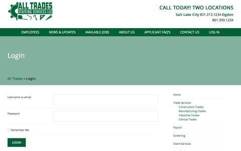 Screenshot of Login Page alltradestemp.com - Login All Trades Staffing Services - captured Oct. 8, 2017