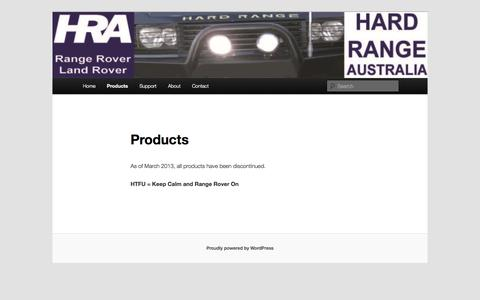 Screenshot of Products Page hardrange.com - Products | Hard Range Australia - captured Oct. 2, 2014