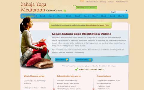 Screenshot of Home Page onlinemeditation.org - Free Online Meditation Course | Learn meditation online! - captured Sept. 22, 2014