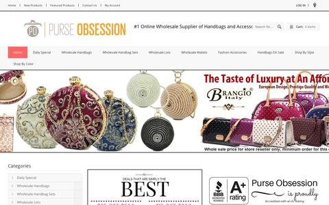 Screenshot of Home Page purse-obsession.com - Purse-Obsession.com: #1 Source of Wholesale Handbags, Wallets, and Fashion Accessories - captured Oct. 23, 2018