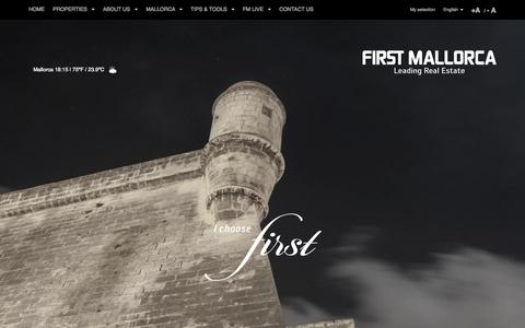Screenshot of Home Page firstmallorca.com - Mallorca Estate Agents | Exclusive Property, Villas & Properties | First Mallorca ® - captured Oct. 1, 2015