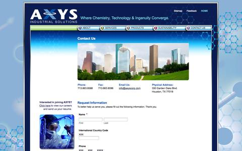 Screenshot of Contact Page axyscorp.com - Contact Us | axys - captured Oct. 4, 2014