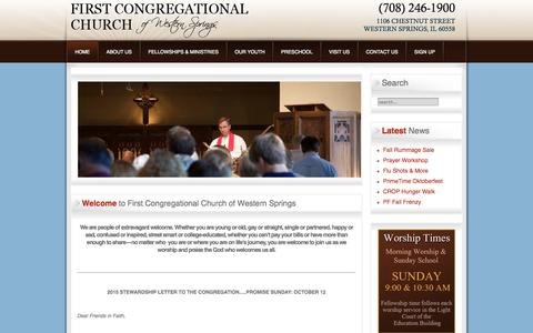 Screenshot of Home Page wscongo.org - First Congregational Church of Western Springs - captured Oct. 6, 2014
