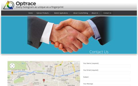 Screenshot of Contact Page optrace.ie - Contact Us | OptraceOptrace - captured July 18, 2014