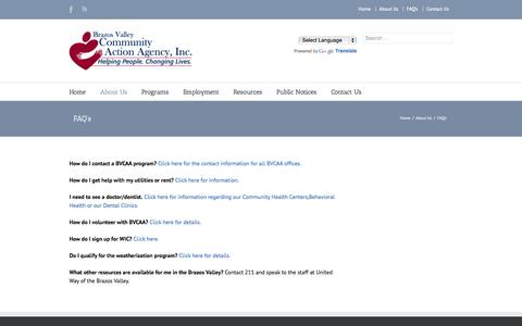 Screenshot of FAQ Page bvcaa.org - Brazos Valley Community Action Agency   –  FAQ's - captured Oct. 5, 2014