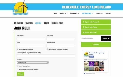 Screenshot of Signup Page renewableenergylongisland.org - Join ReLI - Renewable Energy Long Island - captured Oct. 7, 2014