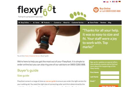 Screenshot of Support Page flexyfoot.com - Buying Guide - Walking Sticks & Ferrules | Flexyfoot - captured Nov. 25, 2016