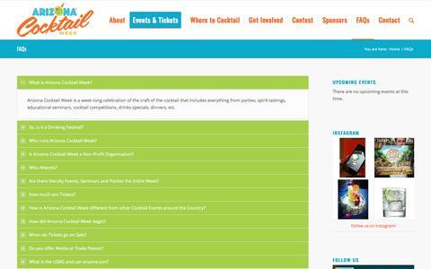 Screenshot of FAQ Page arizonacocktailweek.com - FAQs - Arizona Cocktail Week - captured May 30, 2017