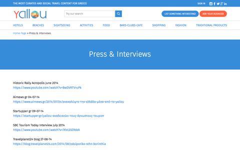 Screenshot of Press Page yallou.com - Press & Interviews | Yallou - captured Aug. 24, 2017