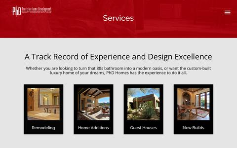 Screenshot of Services Page phdhomes.com - Services - PHD Homes - captured Aug. 21, 2017