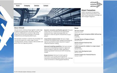 Screenshot of Home Page altitudeaa.com - Altitude Aviation Advisory :: Aviation Consulting :: - captured Oct. 4, 2014