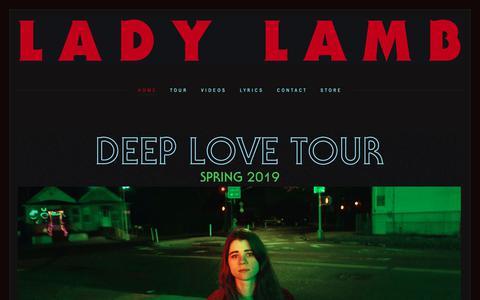 Screenshot of Home Page ladylambjams.com - LADY LAMB - captured Nov. 28, 2018