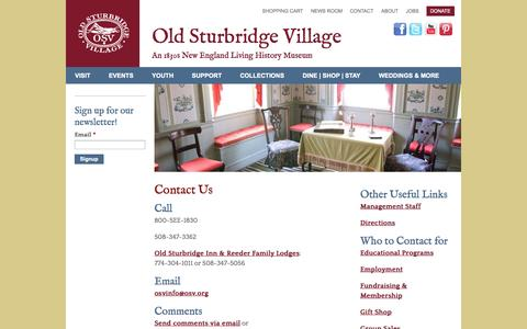 Screenshot of Contact Page osv.org - Contact Us   Old Sturbridge Village - captured Sept. 19, 2014
