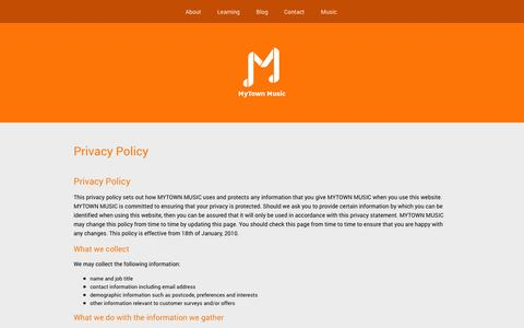 Screenshot of Privacy Page mytownmusic.com - Privacy Policy - MyTown Music - captured Oct. 26, 2014