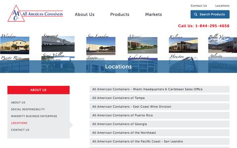Screenshot of Locations Page allamericancontainers.com - Locations : All American Containers - captured Feb. 5, 2016