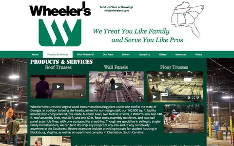 Screenshot of Products Page wheelers.com - Wheeler's Truss Manufacturing - Products & Services - captured Nov. 4, 2017