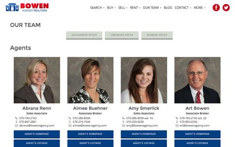 Screenshot of Team Page bowenagency.com - Lewisburg, Sunbury, Selinsgrove Real Estate Agent Contacts | Bowen Agency Realtors - captured Nov. 23, 2016