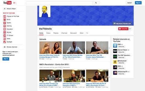 Screenshot of YouTube Page youtube.com - theTVaholic  - YouTube - captured Oct. 31, 2014