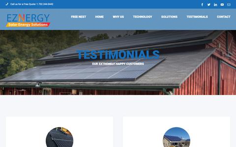 Screenshot of Testimonials Page eznergy.com - Testimonials - EZNERGY: Smart Energy Solutions - captured Nov. 4, 2018