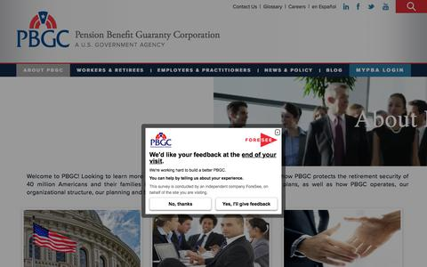 Screenshot of About Page pbgc.gov - About PBGC | Pension Benefit Guaranty Corporation - captured Sept. 23, 2018