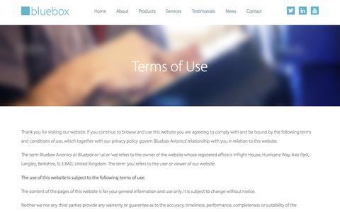 Screenshot of Terms Page blueboxavionics.com - Terms of Use | Bluebox Avionics - captured Nov. 22, 2016