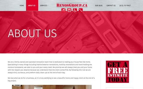 Screenshot of About Page renosgroup.ca - About Us   RenosGroup.ca - captured Aug. 16, 2015