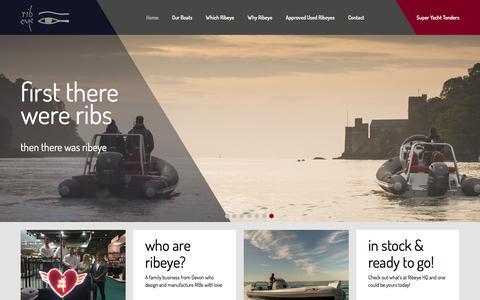 Screenshot of Home Page ribeye.co.uk - RIB Boats | Super Yacht Tenders  | Custom Sports RIBs | RIBs for Families - Devon, UK - captured Feb. 15, 2016