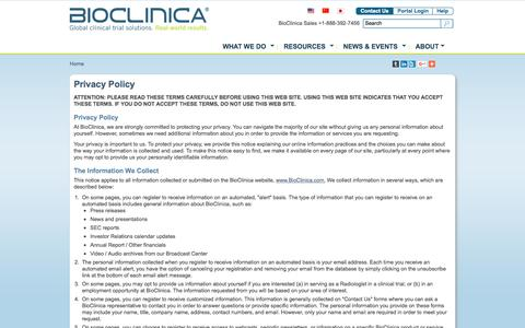 Screenshot of Privacy Page bioclinica.com - Privacy Policy | BioClinica - captured Nov. 14, 2015