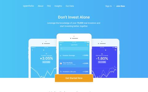 Screenshot of Home Page openfolio.com - Openfolio — Don't Invest Alone - captured May 16, 2016