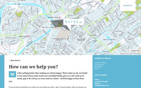 Screenshot of Contact Page thisisbliss.com - Work With Us | BLISS Manchester - captured Oct. 4, 2014