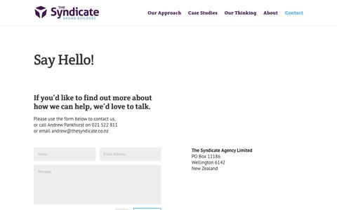 Screenshot of Contact Page thesyndicate.co.nz - Branding and Marketing Agency   The Syndicate - captured Sept. 21, 2018