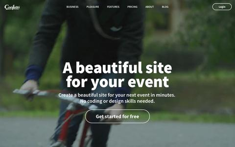 Screenshot of Home Page Signup Page confetti.events - Confetti - A beautiful site for your event - captured Dec. 9, 2015