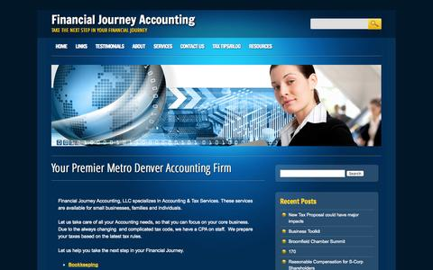 Screenshot of Home Page financialjourney.net - Northglenn Accountant - Broomfield CPA - Northglenn Taxes - captured Oct. 5, 2014