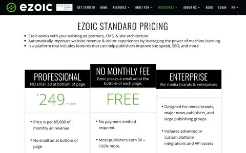 Screenshot of Pricing Page ezoic.com - Ezoic Pricing | Ezoic Testing Platform - captured Aug. 1, 2019