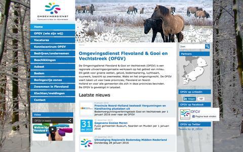 Screenshot of Home Page ofgv.nl - Home | OFGV | Omgevingsdienst Flevoland & Gooi en Vechtstreek - captured Jan. 10, 2016