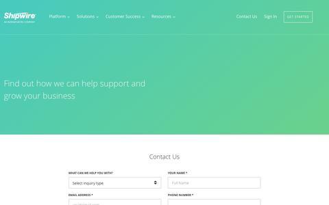 Screenshot of Contact Page shipwire.com - Contact Us - Shipwire - captured June 7, 2016